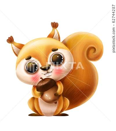Cute cartoon squirrel with a nut and a letter on a white background 62744287