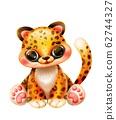 Cute cartoon jaguar on a white background 62744327