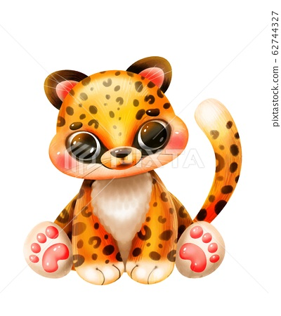 Cute cartoon jaguar on a white background 62744327