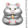 Funny fat cartoon hamster with a grain 62744332