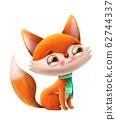 cartoon kind fox with letter of the alphabet 62744337