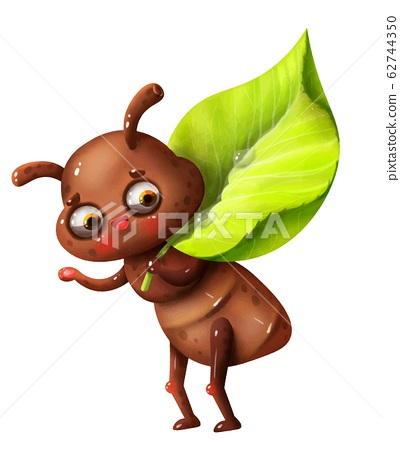 cartoon cute ant with leaf and letter of the alphabet 62744350