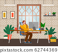 Employee Woman Working with Computer Indoor Vector 62744369