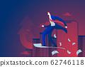 businessman ride on money paper air plane. business launch concept. vector illustration. 62746118