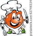 Vector Cartoon illustration of a Happy Tomato Chef 62746334