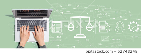 Legal advice service concept with person using laptop computer 62748248