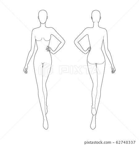 Fashion template 9 head for technical drawing.  62748337
