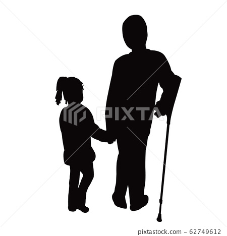 two children walking, silhouette vector 62749612