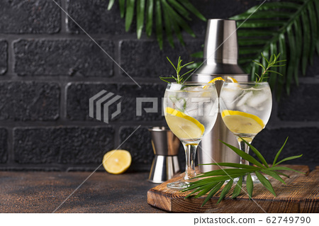 Gin tonic cocktail with lemon 62749790
