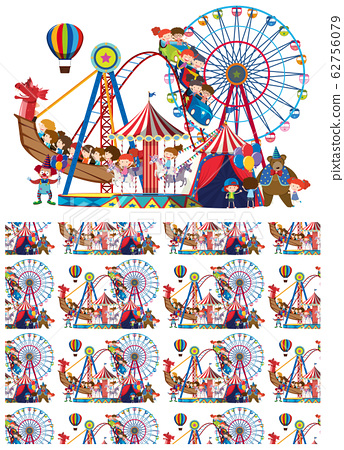 Seamless background design with children at circus 62756079