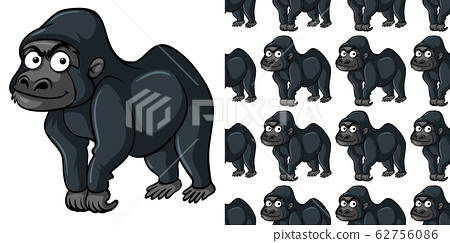 Seamless background design with cute gorilla 62756086
