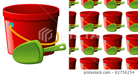 Seamless background design with red bucket and 62756254