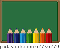 Banner template with many color pencils in 62756279