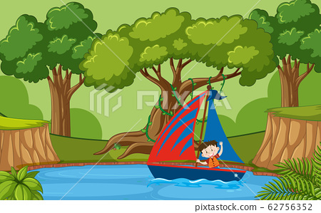 Background scene with little boy sailing boat in 62756352