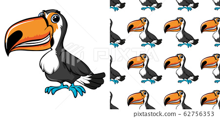 Seamless background design with toucan bird 62756353