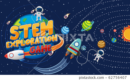 Background scene with astronauts and many planets 62756407