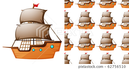 Seamless background design with wooden ships 62756510