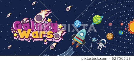 Poster design with spaceship and many planets in 62756512
