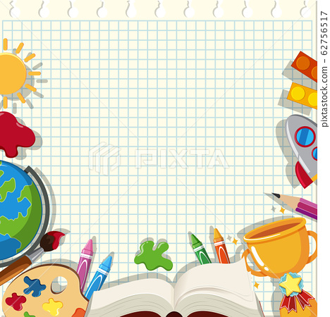Banner template with school items on the grid 62756517