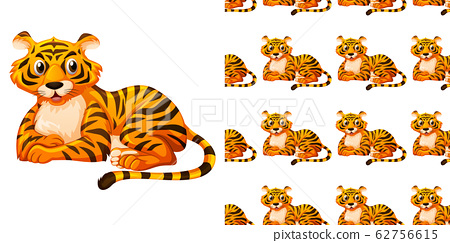 Seamless background design with cute tiger 62756615