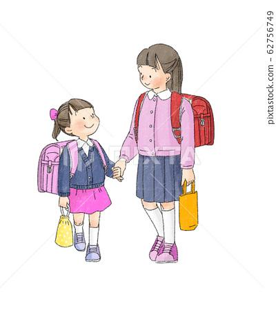 小學生:上學的姐妹手牽著手 62756749