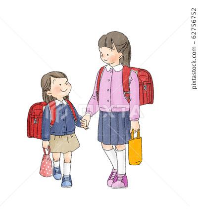 小學生:上學的姐妹手牽著手 62756752