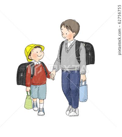 小學生-手牽手上學的兄弟(一年級生) 62756755