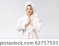 Beautiful women take care of skin health holding hand praying. Beautiful girl on white background. 62757503