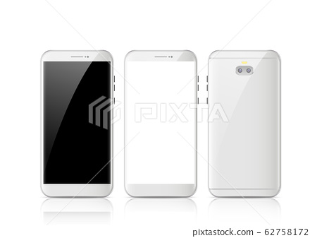 Modern white touchscreen cellphone tablet smartphone isolated on light background 62758172