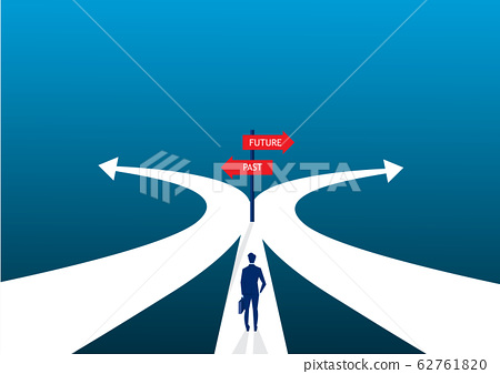 businessman decision two ways about past and future way. 62761820