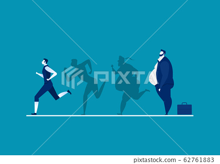 man fat turning into silhouette Thin for health on blue background graphic 62761883