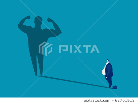 businessman fat Looking Big shadow man body strong, healthy concept Illustration 62761915