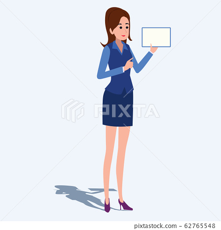Women in office clothes. Beautiful woman in business clothes. Vector illustration. On cartoons style. Board view background. 62765548