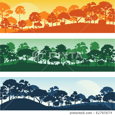 forest trees silhouettes , forest landscape template banner background vector illustration EPS10 62765674