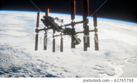 A view of the Earth and a spaceship. ISS is 62765798