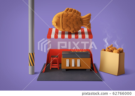 3D Shop Building with Food at the Top Isometric 018 62766000