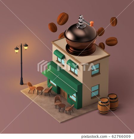 3D Shop Building with Food at the Top Isometric 002 62766009