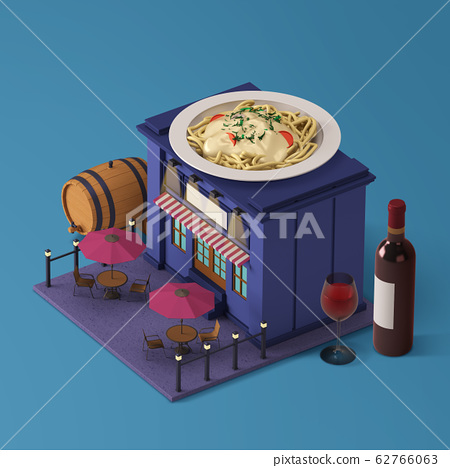 3D Shop Building with Food at the Top Isometric 014 62766063