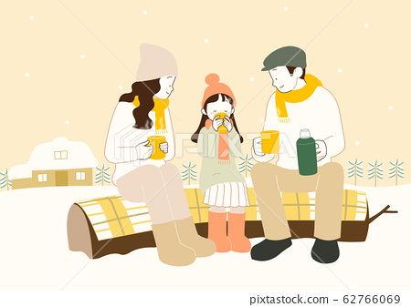 Happy time of family in winter, warm and cozy home illustration 005 62766069