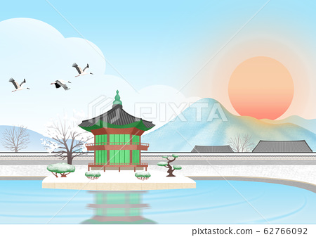 Nature landscape with sunrise illustration 007 62766092