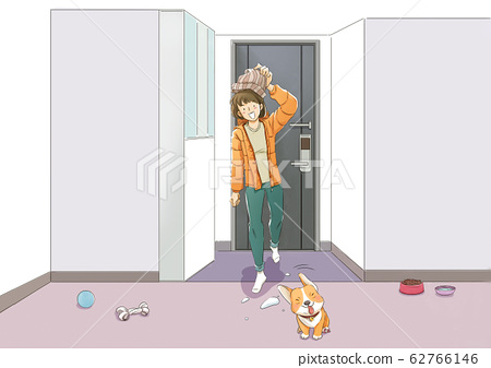 Daily life with pet in winter illustration 001 62766146