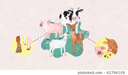 Animal diseases and pest control by viruses concept illustration 001 62766189