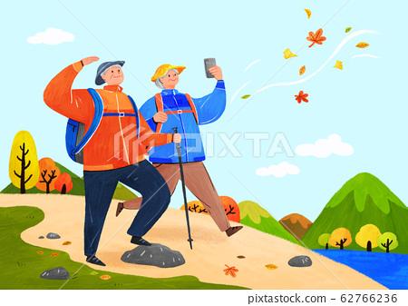 Happy senior life, healthy active lifestyle concept illustration 007 62766236