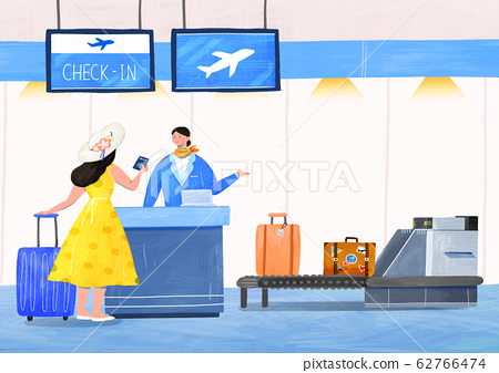 Airplane passenger service with air travel concept illustration 005 62766474