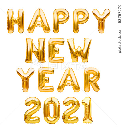 Happy New Year 2021 phrase made of golden 62767370