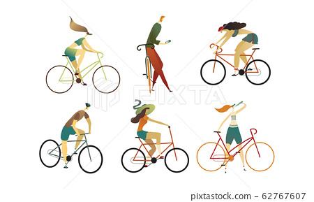 People Wearing Sportive Wear Riding Bikes Vector Set 62767607