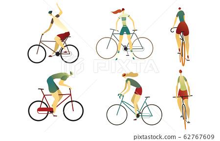 People Wearing Sportive Wear Riding Bikes Vector Set 62767609