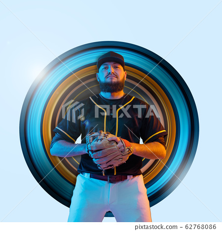 Baseball player, pitcher in a black uniform, modern design in neon 62768086