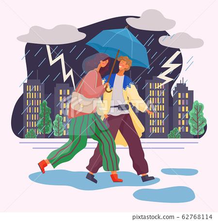 Couple under Umbrella, People Walk in Thunderstorm 62768114