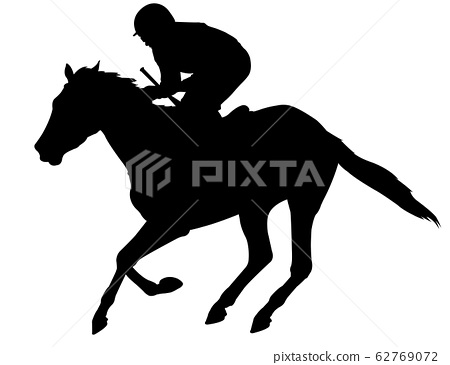 jockey riding racing horse silhouette  62769072